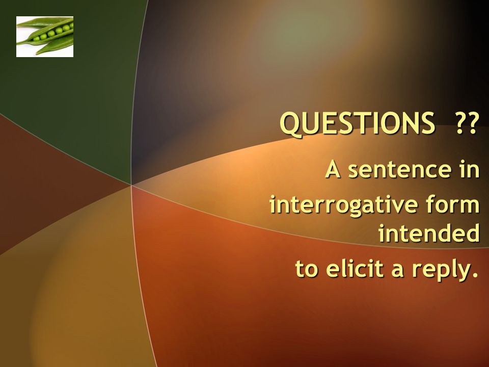 QUESTIONS A sentence in interrogative form intended to elicit a reply to elicit a reply.