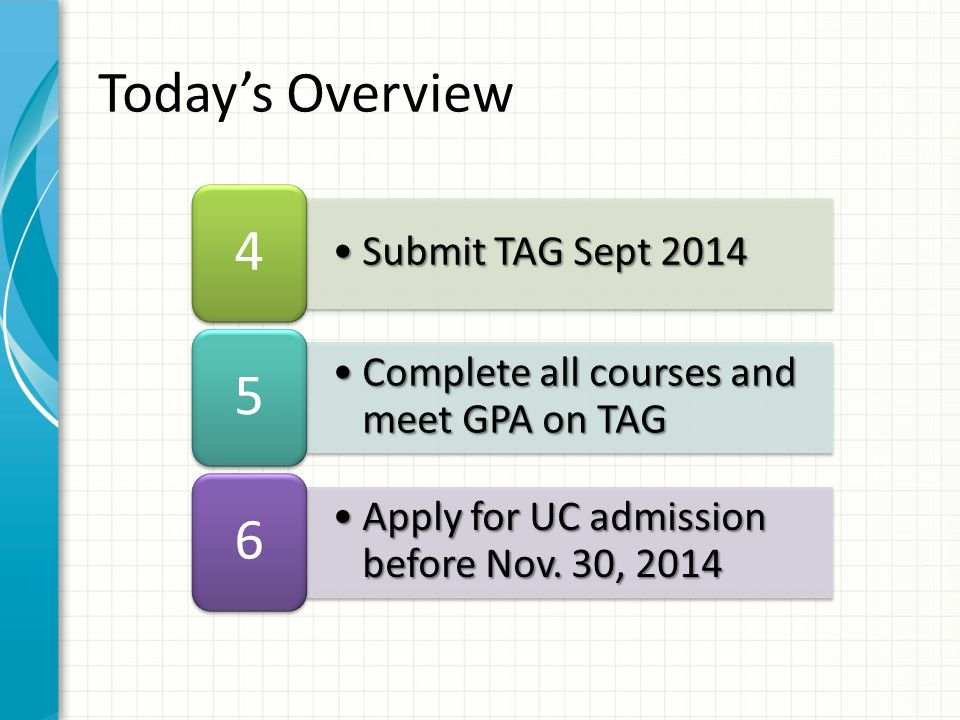 Submit TAG Sept 2014Submit TAG Sept 2014 4 Complete all courses and meet GPA on TAGComplete all courses and meet GPA on TAG 5 Apply for UC admission before Nov.