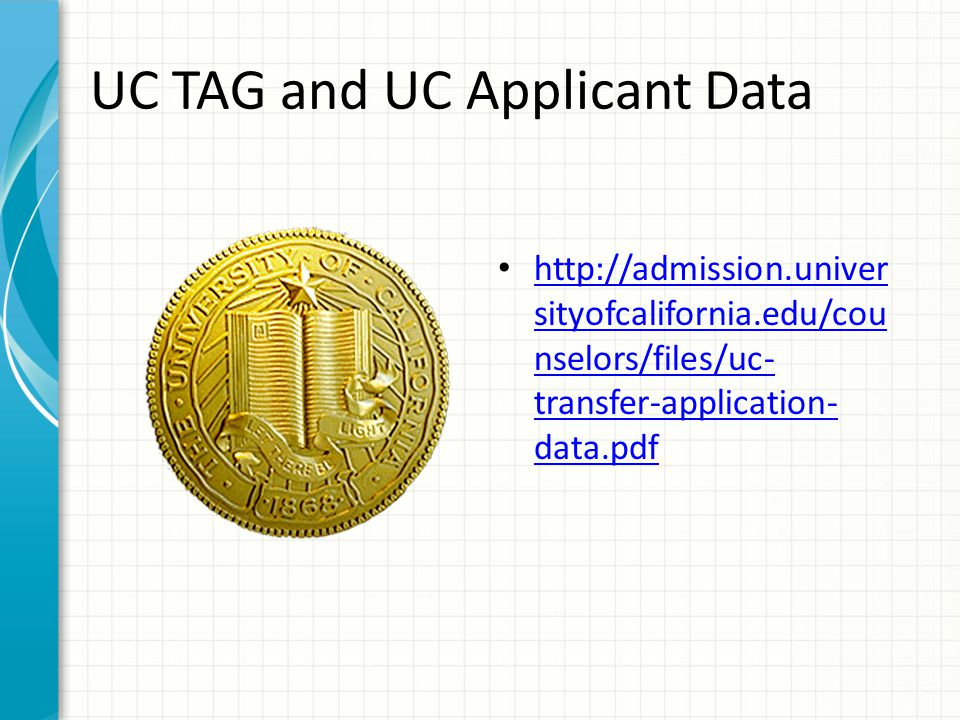 UC TAG and UC Applicant Data http://admission.univer sityofcalifornia.edu/cou nselors/files/uc- transfer-application- data.pdf http://admission.univer sityofcalifornia.edu/cou nselors/files/uc- transfer-application- data.pdf