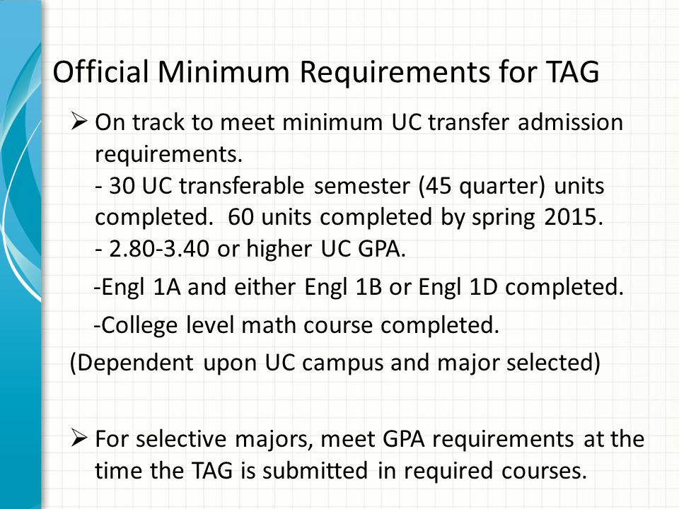 Official Minimum Requirements for TAG  On track to meet minimum UC transfer admission requirements.