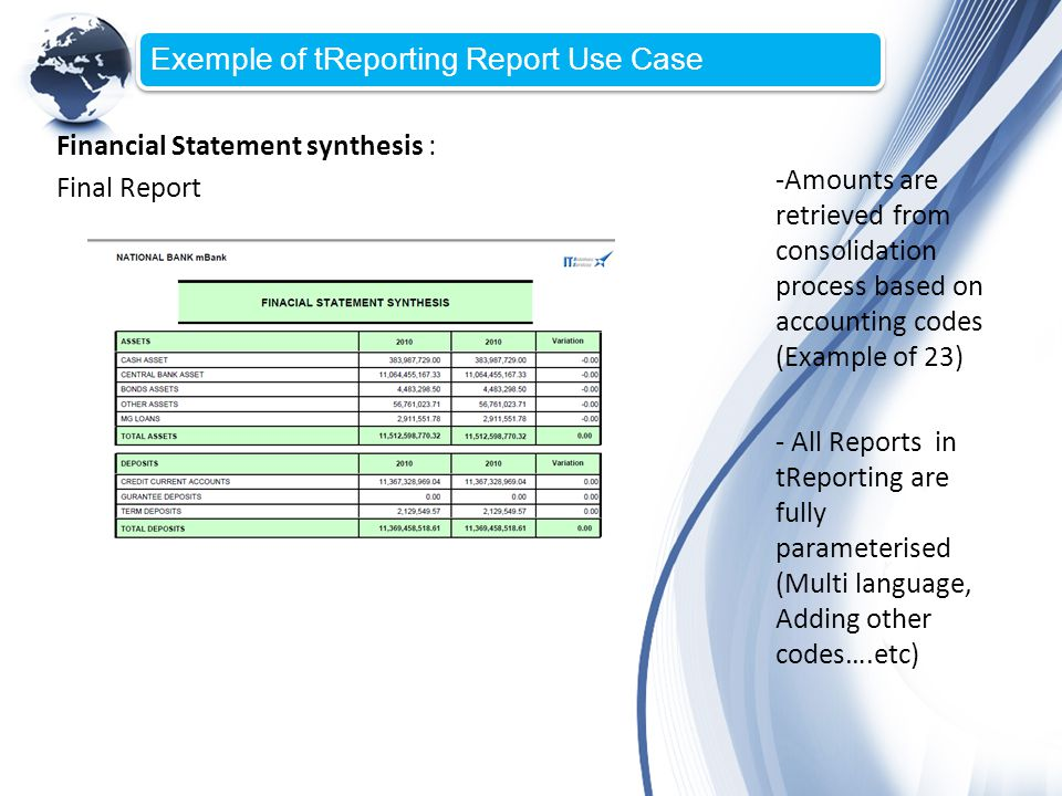 Exemple of tReporting Report Use Case Financial Statement synthesis : Final Report -Amounts are retrieved from consolidation process based on accounti