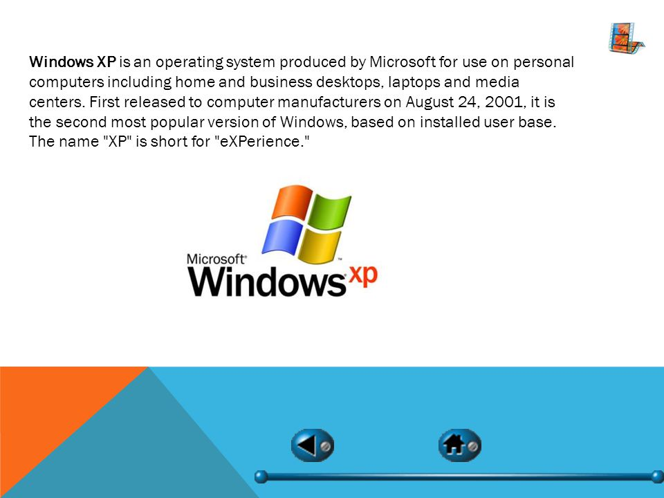 Windows XP is an operating system produced by Microsoft for use on personal computers including home and business desktops, laptops and media centers.