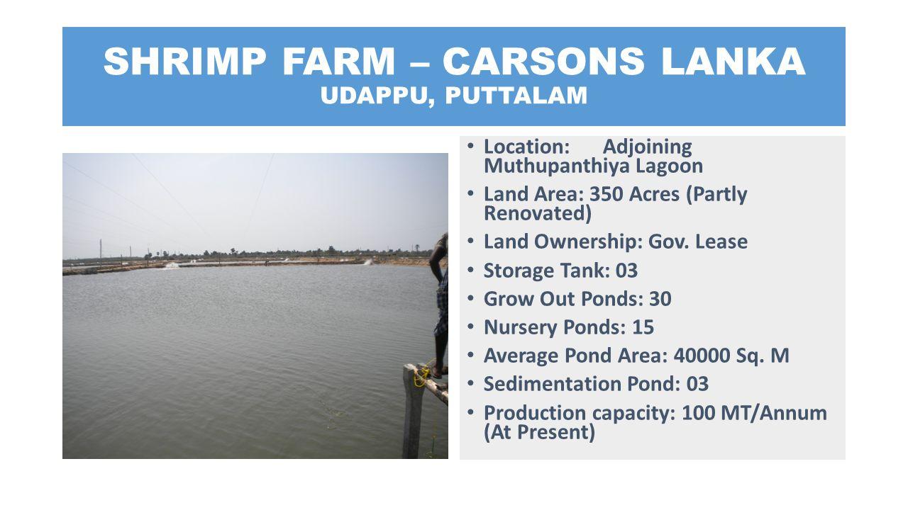 SHRIMP FARM – CARSONS LANKA UDAPPU, PUTTALAM Location: Adjoining Muthupanthiya Lagoon Land Area: 350 Acres (Partly Renovated) Land Ownership: Gov. Lea