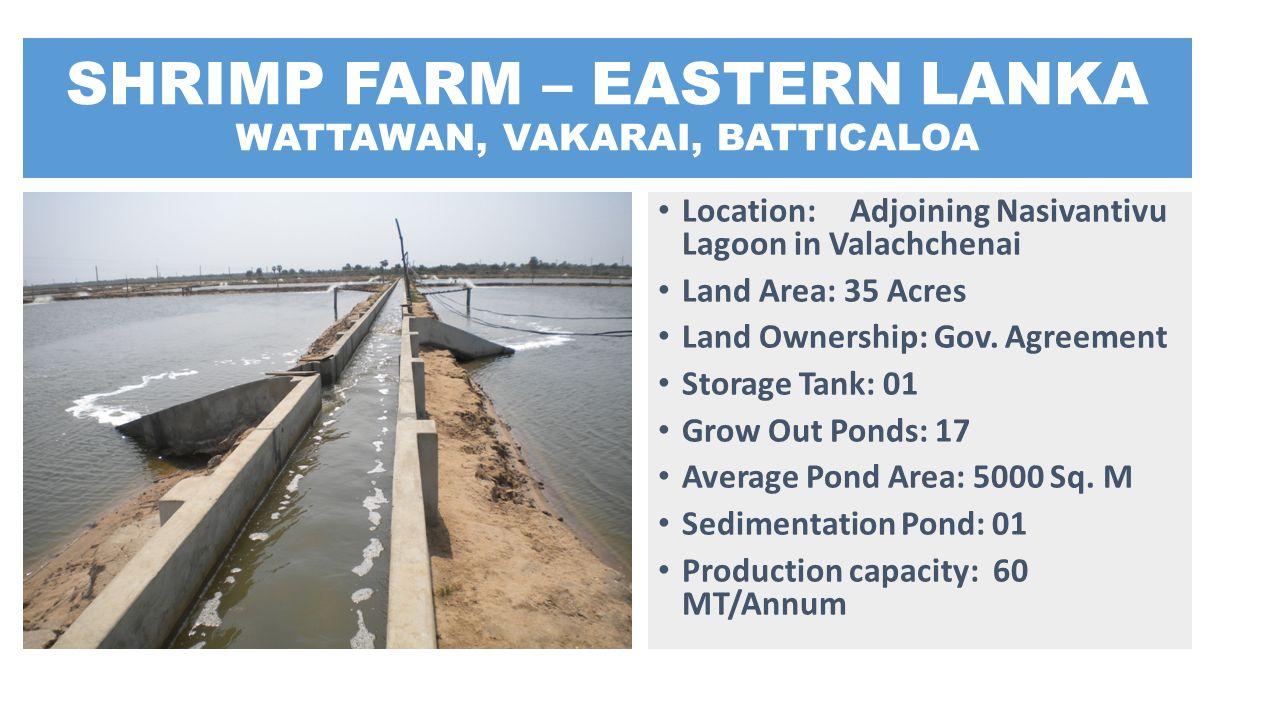 SHRIMP FARM – EASTERN LANKA WATTAWAN, VAKARAI, BATTICALOA Location: Adjoining Nasivantivu Lagoon in Valachchenai Land Area: 35 Acres Land Ownership: G