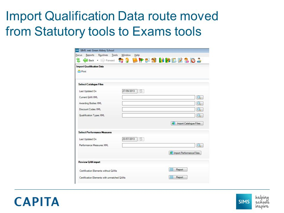 Import Qualification Data route moved from Statutory tools to Exams tools