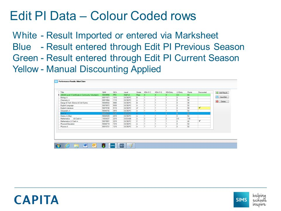 Edit PI Data – Colour Coded rows White- Result Imported or entered via Marksheet Blue - Result entered through Edit PI Previous Season Green- Result entered through Edit PI Current Season Yellow- Manual Discounting Applied