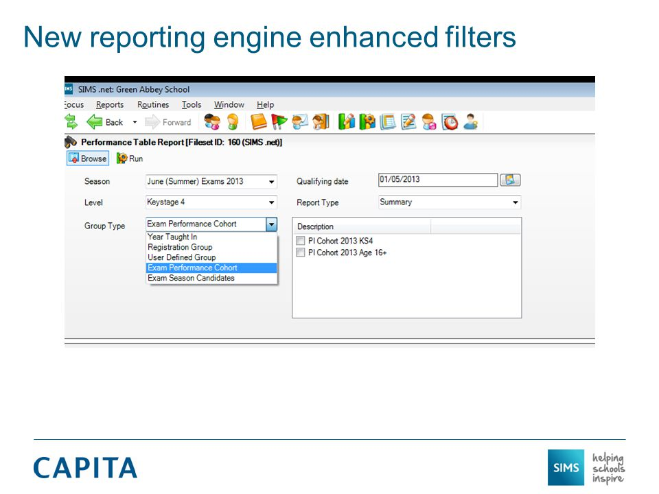 New reporting engine enhanced filters