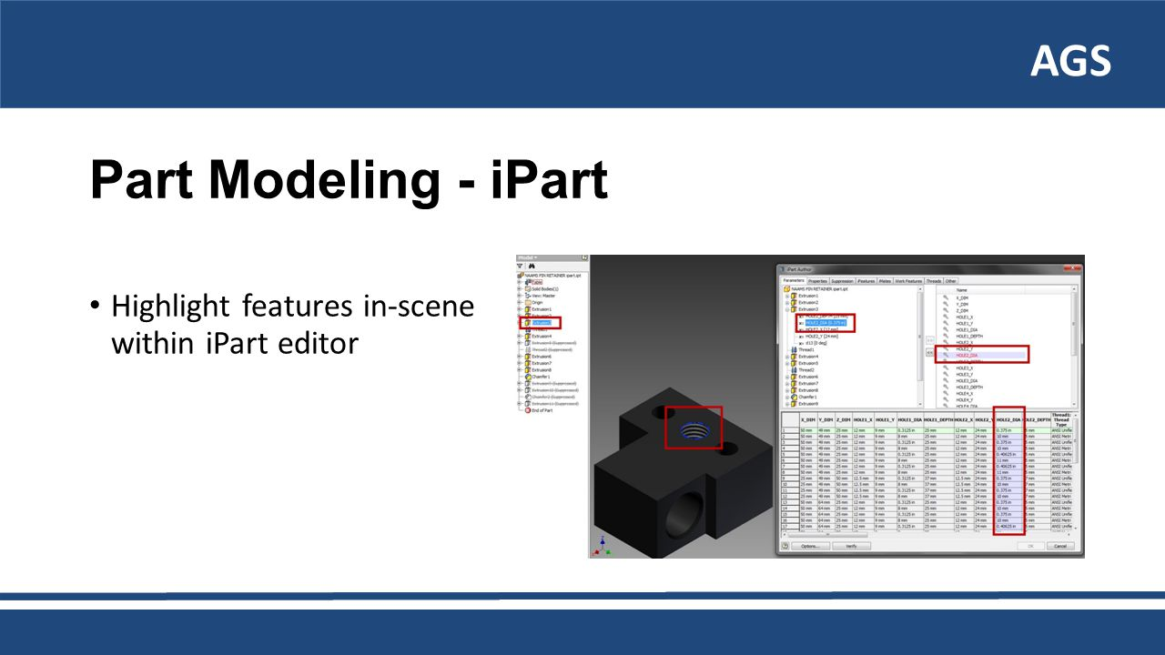 AGS Part Modeling - iPart Highlight features in-scene within iPart editor