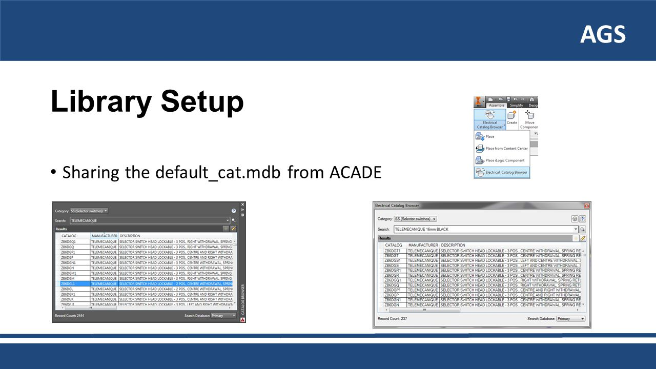AGS Library Setup Sharing the default_cat.mdb from ACADE