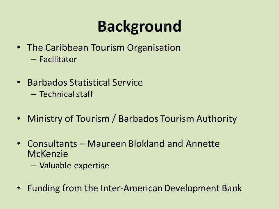 Background The Caribbean Tourism Organisation – Facilitator Barbados Statistical Service – Technical staff Ministry of Tourism / Barbados Tourism Auth