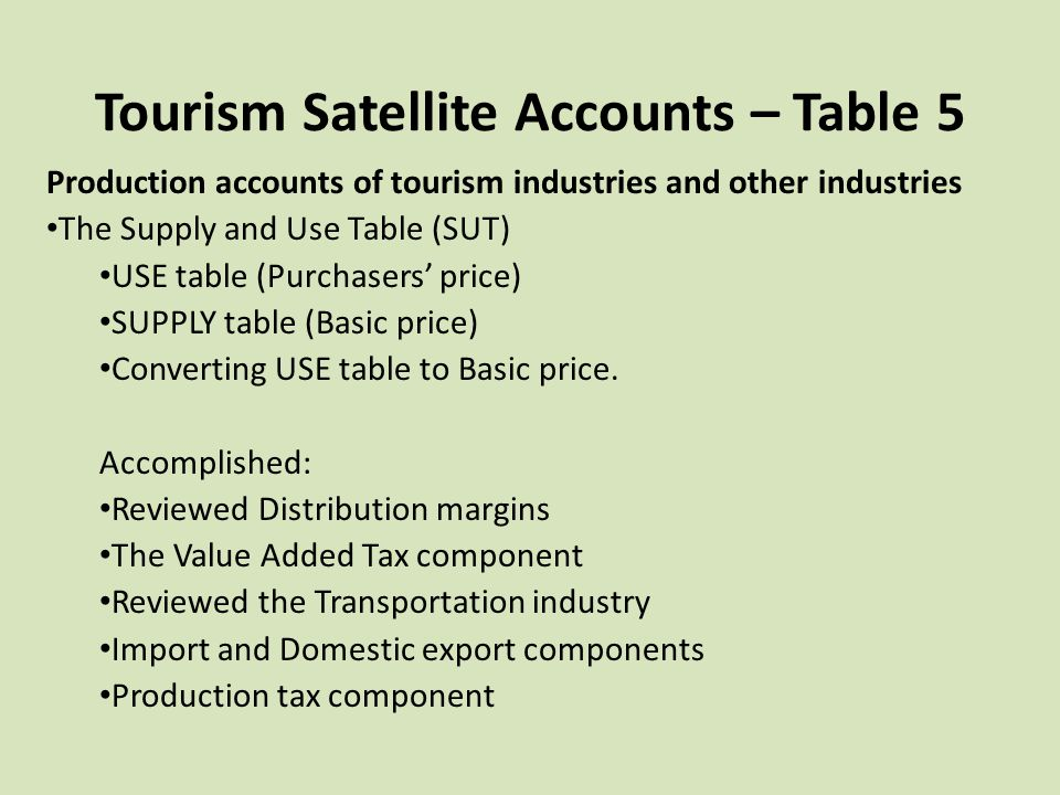 Tourism Satellite Accounts – Table 5 Production accounts of tourism industries and other industries The Supply and Use Table (SUT) USE table (Purchase