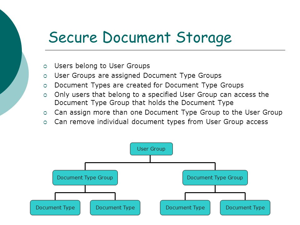  Users belong to User Groups  User Groups are assigned Document Type Groups  Document Types are created for Document Type Groups  Only users that belong to a specified User Group can access the Document Type Group that holds the Document Type  Can assign more than one Document Type Group to the User Group  Can remove individual document types from User Group access Secure Document Storage User Group Document Type Group Document Type Document Type Group Document Type