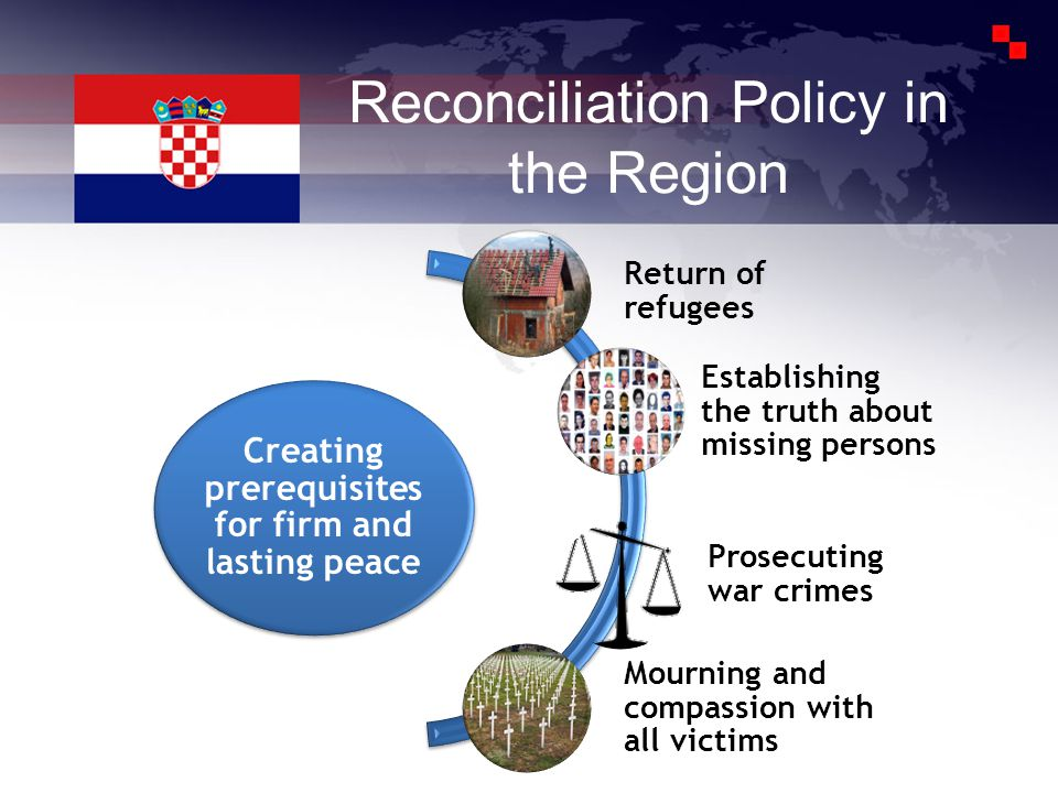 Reconciliation Policy in the Region Creating prerequisites for firm and lasting peace Return of refugees Establishing the truth about missing persons Prosecuting war crimes Mourning and compassion with all victims