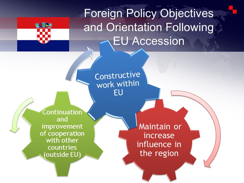 Foreign Policy Objectives and Orientation Following EU Accession Maintain or increase influence in the region Continuation and improvement of cooperation with other countries (outside EU) Constructive work within EU