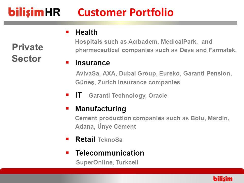 Customer Portfolio Private Sector  Health Hospitals such as Acıbadem, MedicalPark, and pharmaceutical companies such as Deva and Farmatek.  Insuranc
