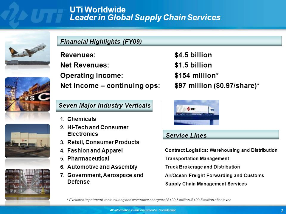 2 All information in this document is Confidential. UTi Worldwide Leader in Global Supply Chain Services Contract Logistics: Warehousing and Distribut