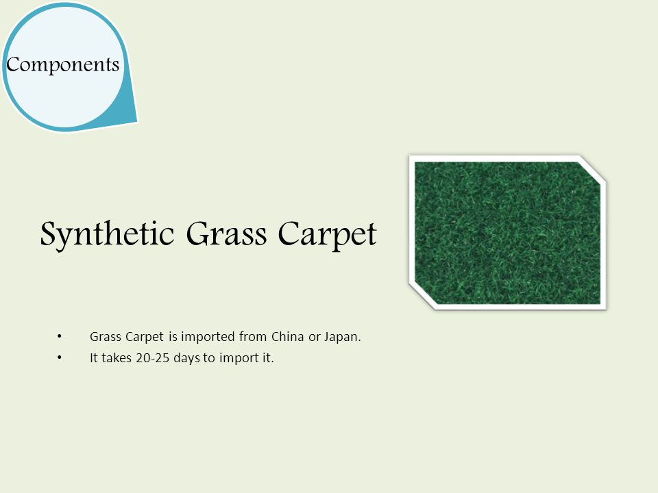 Components Synthetic Grass Carpet Grass Carpet is imported from China or Japan.