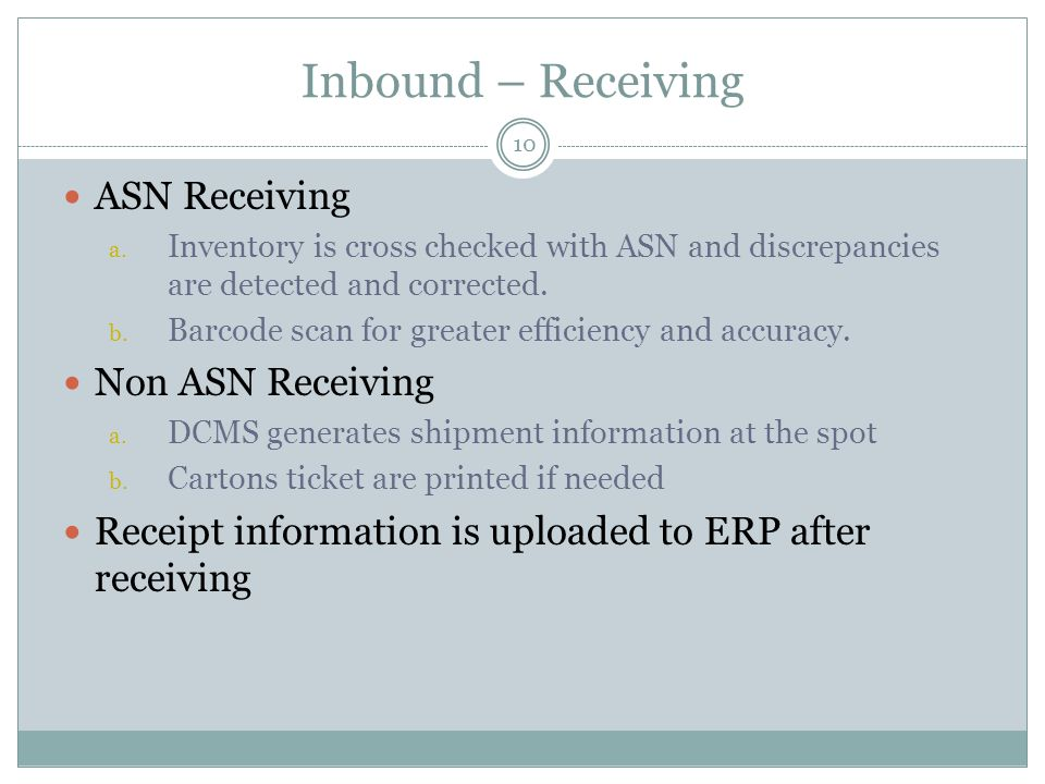Inbound – Receiving 10 ASN Receiving a. Inventory is cross checked with ASN and discrepancies are detected and corrected. b. Barcode scan for greater