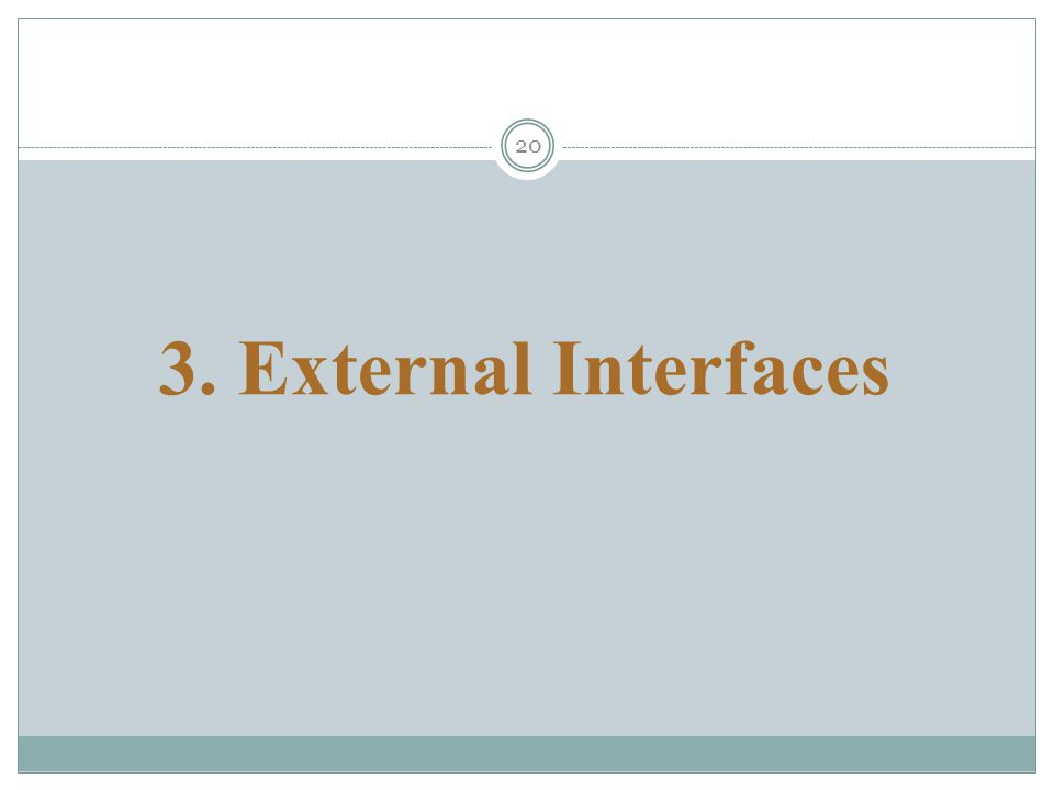 20 3. External Interfaces