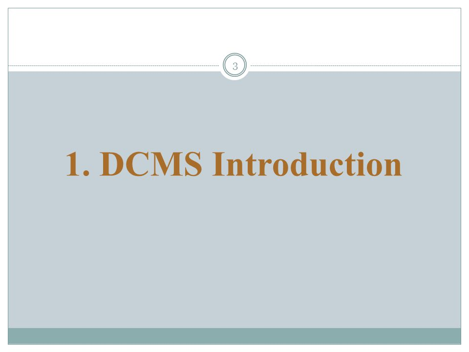 3 1. DCMS Introduction