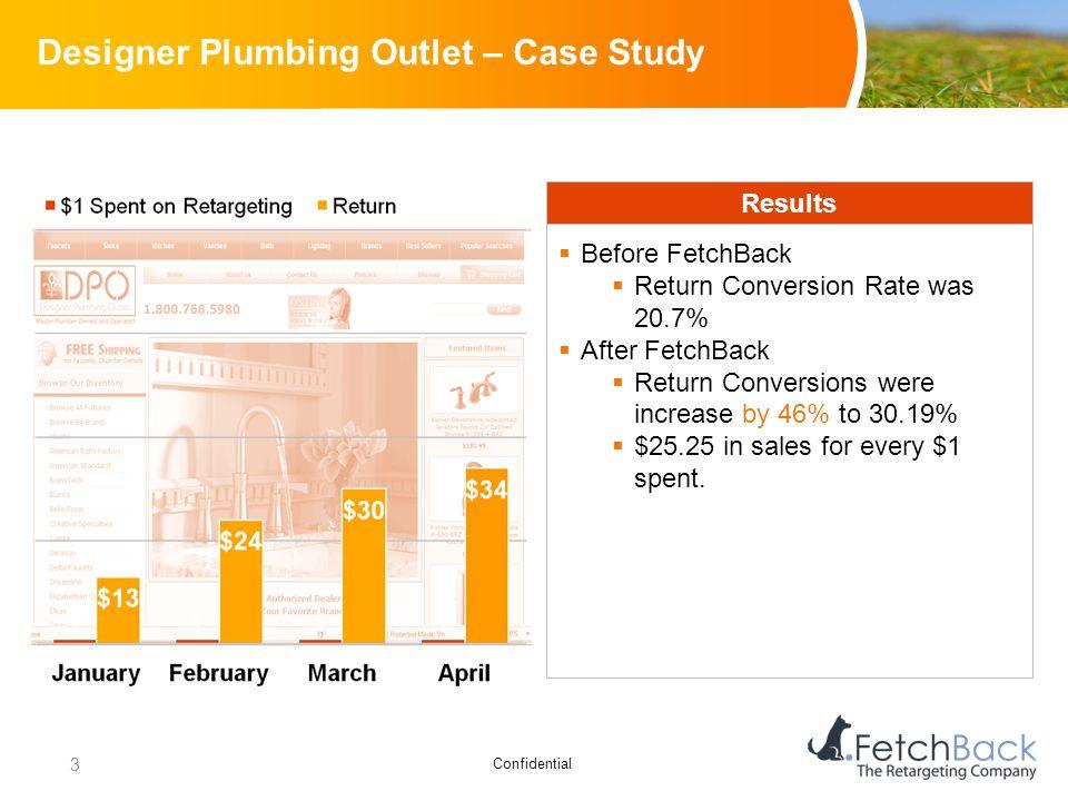 Confidential Designer Plumbing Outlet – Case Study Results  Before FetchBack  Return Conversion Rate was 20.7%  After FetchBack  Return Conversion