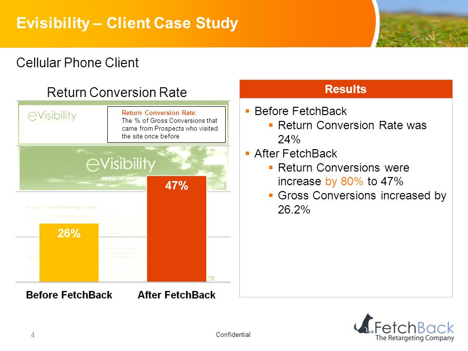 Confidential Evisibility – Client Case Study Cellular Phone Client Results  Before FetchBack  Return Conversion Rate was 24%  After FetchBack  Ret