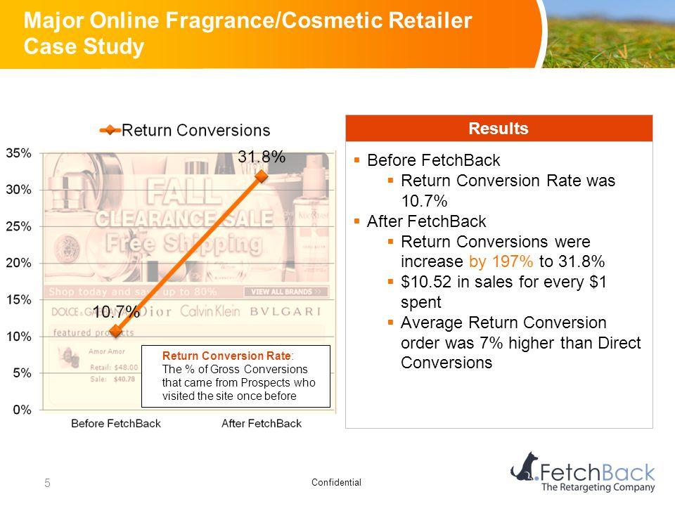 Confidential Major Online Fragrance/Cosmetic Retailer Case Study Results  Before FetchBack  Return Conversion Rate was 10.7%  After FetchBack  Ret