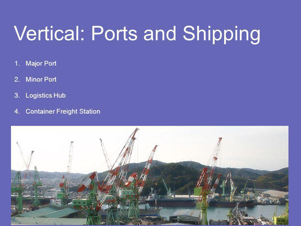 Vertical: Ports and Shipping 1.Major Port 2.Minor Port 3.Logistics Hub 4.Container Freight Station