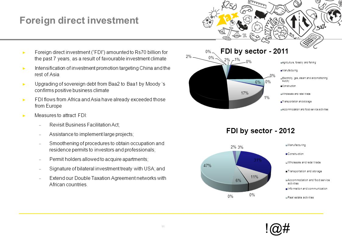 11 !@# Foreign direct investment ► Foreign direct investment ( FDI ) amounted to Rs70 billion for the past 7 years, as a result of favourable investment climate ► Intensification of investment promotion targeting China and the rest of Asia ► Upgrading of sovereign debt from Baa2 to Baa1 by Moody 's confirms positive business climate ► FDI flows from Africa and Asia have already exceeded those from Europe ► Measures to attract FDI: – Revisit Business Facilitation Act; – Assistance to implement large projects; – Smoothening of procedures to obtain occupation and residence permits to investors and professionals; – Permit holders allowed to acquire apartments; – Signature of bilateral investment treaty with USA; and – Extend our Double Taxation Agreement networks with African countries.