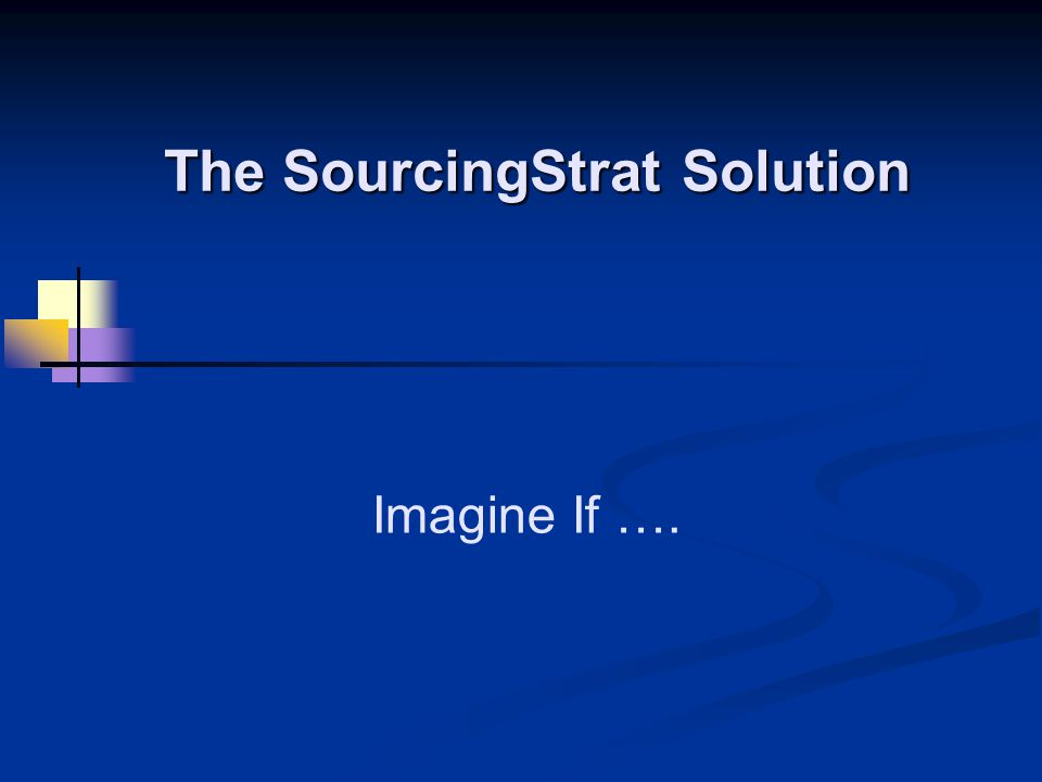 Imagine If …. The SourcingStrat Solution