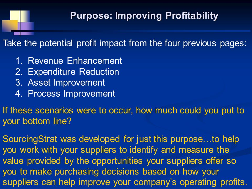 Take the potential profit impact from the four previous pages: 1.
