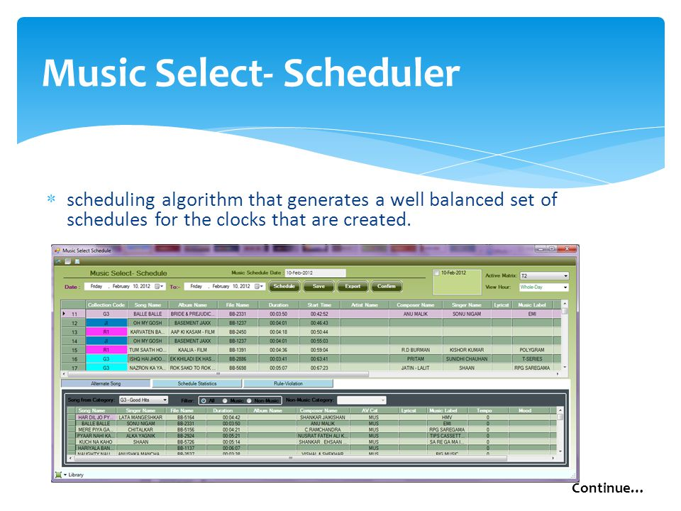 Music Select- Scheduler  scheduling algorithm that generates a well balanced set of schedules for the clocks that are created.