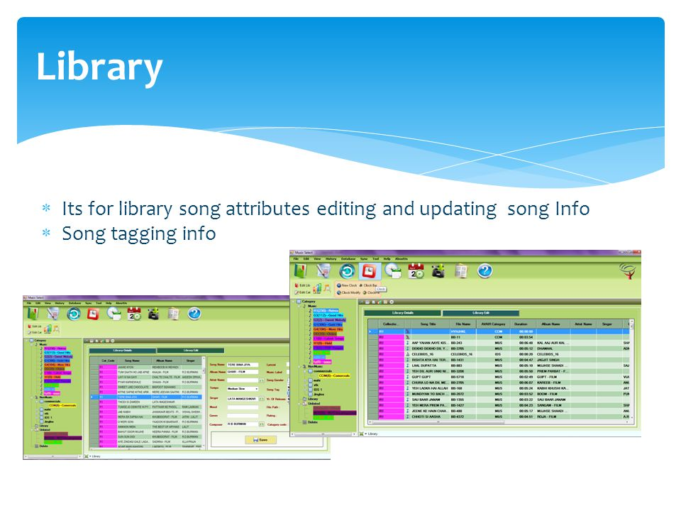 Library  Its for library song attributes editing and updating song Info  Song tagging info