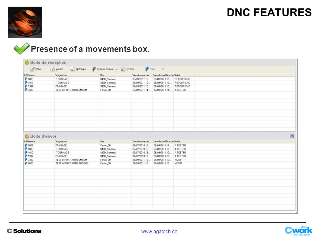 Presence of a movements box. DNC FEATURES www.agatech.ch