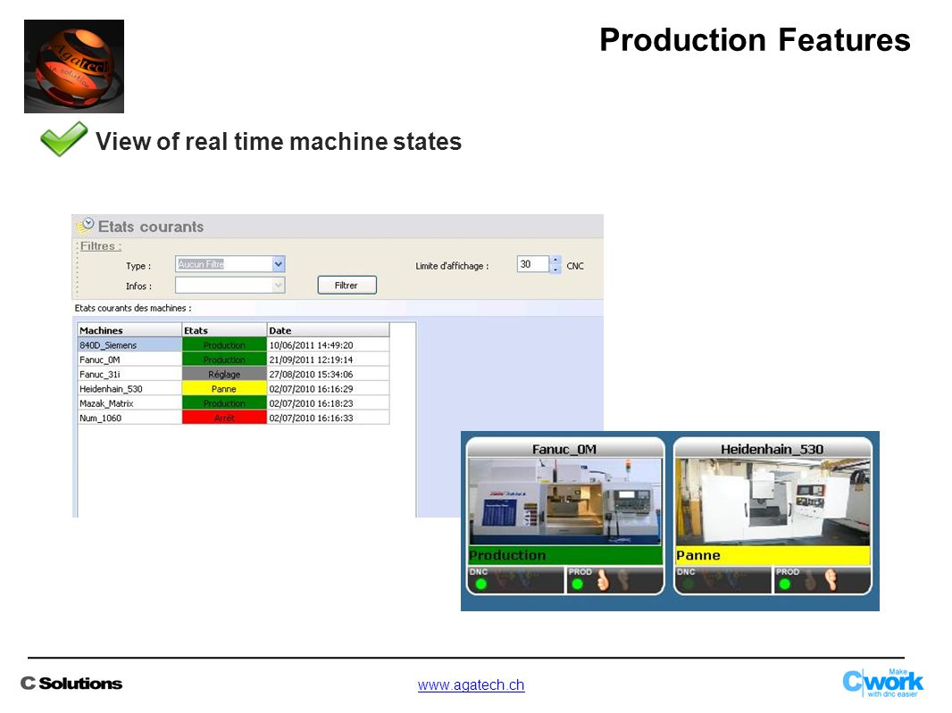 View of real time machine states Production Features www.agatech.ch