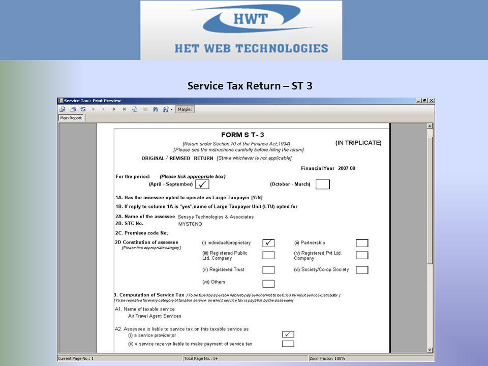 Service Tax Return – ST 3