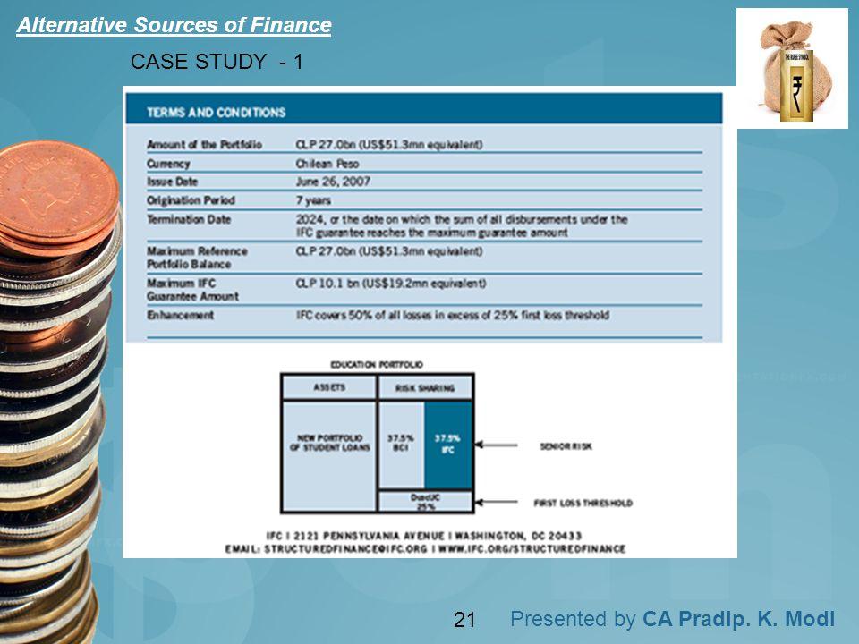 Presented by CA Pradip. K. Modi CASE STUDY - 1 Alternative Sources of Finance 21