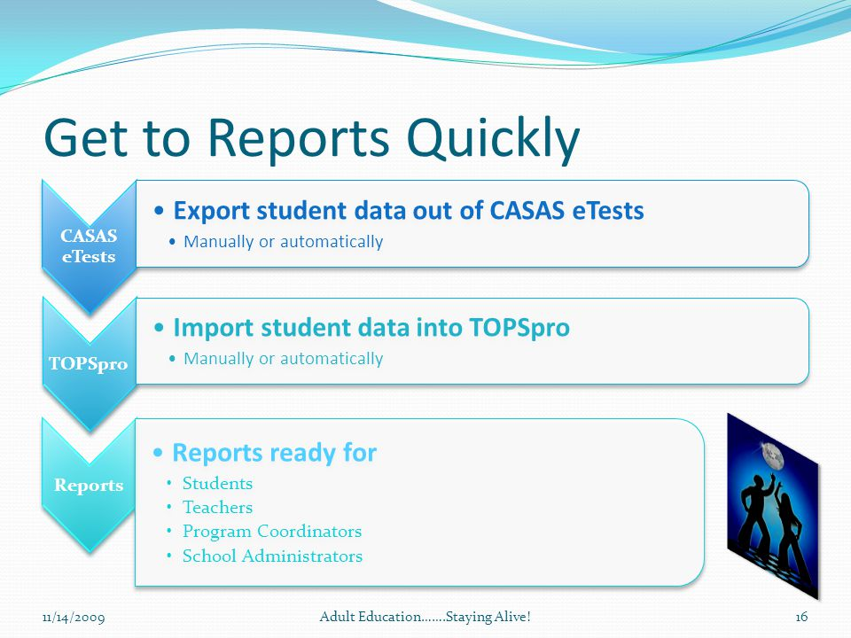 Get to Reports Quickly CASAS eTests Export student data out of CASAS eTests Manually or automatically TOPSpro Import student data into TOPSpro Manually or automatically Reports Reports ready for Students Teachers Program Coordinators School Administrators 11/14/2009Adult Education…….Staying Alive!16