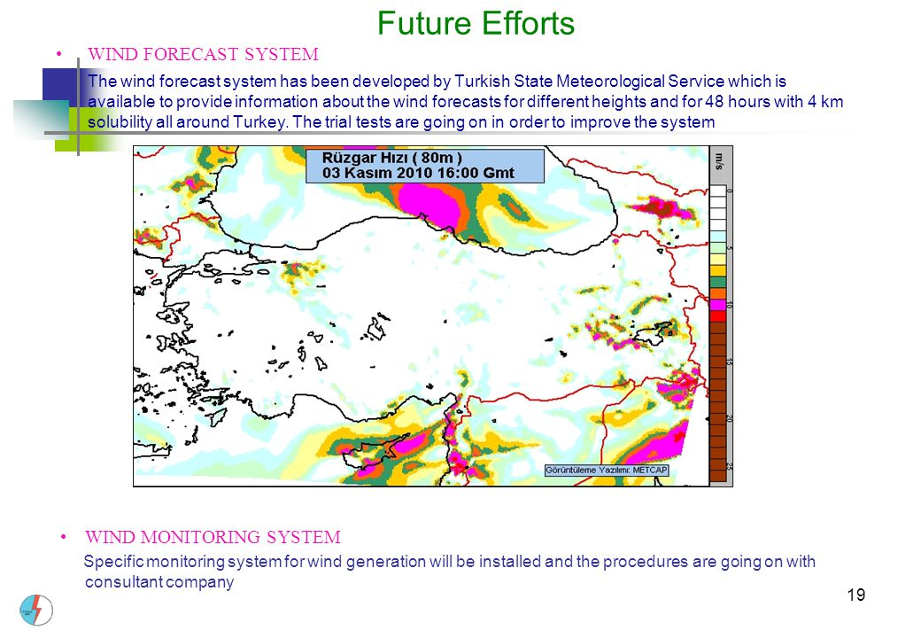 19 Future Efforts WIND FORECAST SYSTEM The wind forecast system has been developed by Turkish State Meteorological Service which is available to provi