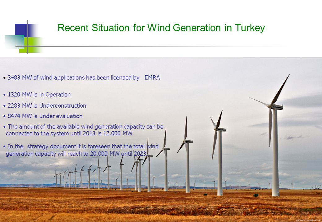 8 Recent Situation for Wind Generation in Turkey 3483 MW of wind applications has been licensed by EMRA 1320 MW is in Operation 2283 MW is Underconstruction 8474 MW is under evaluation The amount of the available wind generation capacity can be connected to the system until 2013 is 12.000 MW In the strategy document it is foreseen that the total wind generation capacity will reach to 20.000 MW until 2023.
