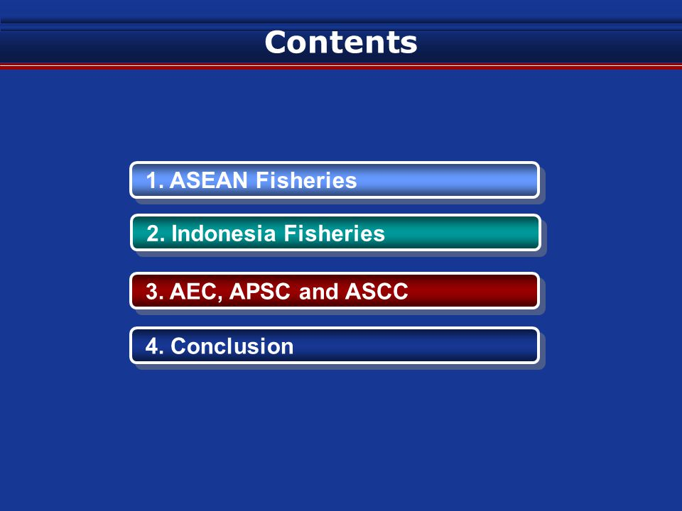 Contents 1. ASEAN Fisheries 2. Indonesia Fisheries 3. AEC, APSC and ASCC 4. Conclusion