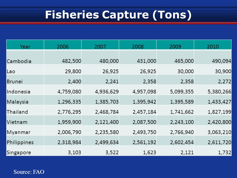 Fisheries Capture (Tons) Year20062007200820092010 Cambodia 482,500 480,000 431,000 465,000 490,094 Lao 29,800 26,925 30,000 30,900 Brunei 2,400 2,241 2,358 2,272 Indonesia 4,759,080 4,936,629 4,957,098 5,099,355 5,380,266 Malaysia 1,296,335 1,385,703 1,395,942 1,395,589 1,433,427 Thailand 2,776,295 2,468,784 2,457,184 1,741,662 1,827,199 Vietnam 1,959,900 2,121,400 2,087,500 2,243,100 2,420,800 Myanmar 2,006,790 2,235,580 2,493,750 2,766,940 3,063,210 Philippines 2,318,984 2,499,634 2,561,192 2,602,454 2,611,720 Singapore 3,103 3,522 1,623 2,121 1,732 Source: FAO