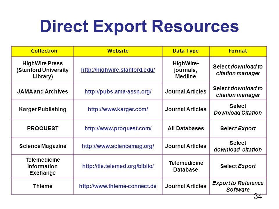 Direct Export Resources CollectionWebsiteData TypeFormat HighWire Press (Stanford University Library) http://highwire.stanford.edu/ HighWire- journals