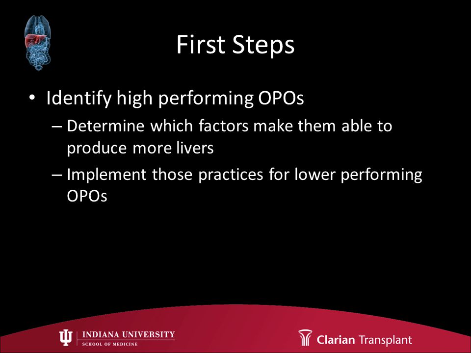 First Steps Identify high performing OPOs – Determine which factors make them able to produce more livers – Implement those practices for lower performing OPOs
