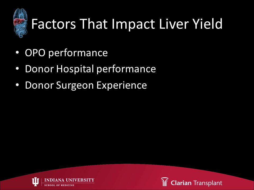Factors That Impact Liver Yield OPO performance Donor Hospital performance Donor Surgeon Experience