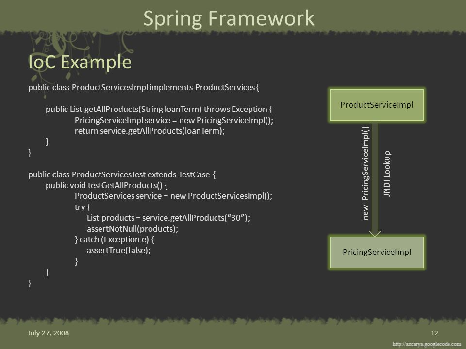 Spring Framework public class ProductServicesImpl implements ProductServices { public List getAllProducts(String loanTerm) throws Exception { PricingServiceImpl service = new PricingServiceImpl(); return service.getAllProducts(loanTerm); } public class ProductServicesTest extends TestCase { public void testGetAllProducts() { ProductServices service = new ProductServicesImpl(); try { List products = service.getAllProducts( 30 ); assertNotNull(products); } catch (Exception e) { assertTrue(false); } IoC Example 12 ProductServiceImpl PricingServiceImpl new PricingServiceImpl() JNDI Lookup July 27, 2008