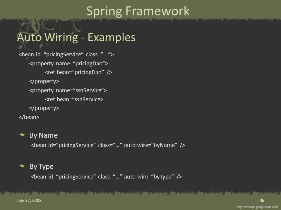 Spring Framework By Name By Type Auto Wiring - Examples 46 July 27, 2008