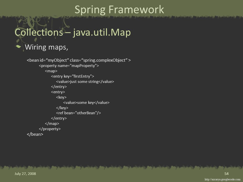 Spring Framework Wiring maps, just some string some key Collections – java.util.Map 54 July 27, 2008