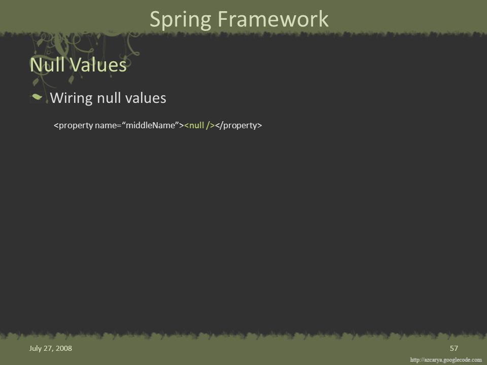 Spring Framework Wiring null values Null Values 57July 27, 2008
