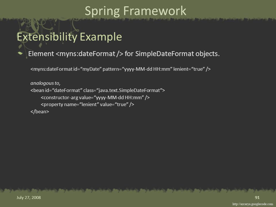 Spring Framework Element for SimpleDateFormat objects.